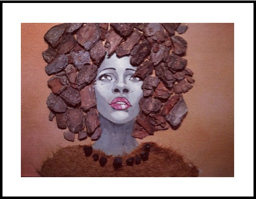 afro art with wood bark
