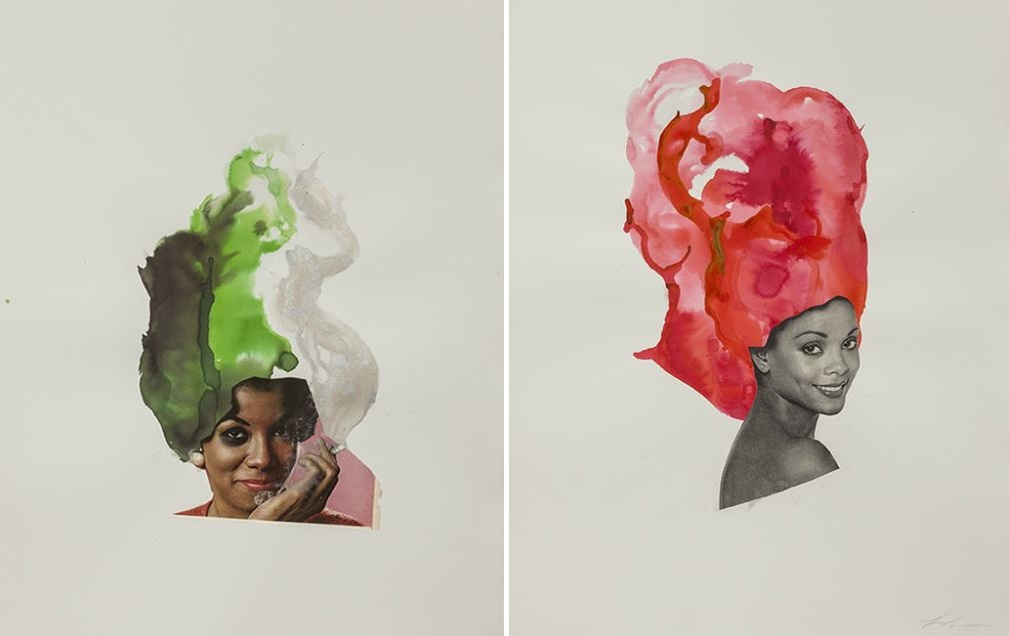 fight-pink-lonra-simpson-art-photography-ebony-collage-African-America-black-woman-contemporary-artist
