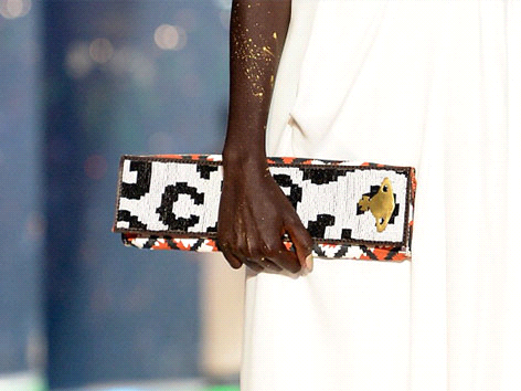 Vivienne Westwood's Gold Label show in Paris featured a Maasai beaded clutch, crafted in Kenya through the Ethical Fashion Initiative.